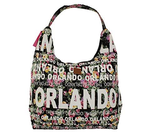 Robin Ruth Orlando Floral Design Canvas City Bag with Black Background (Furniture Orlando City)