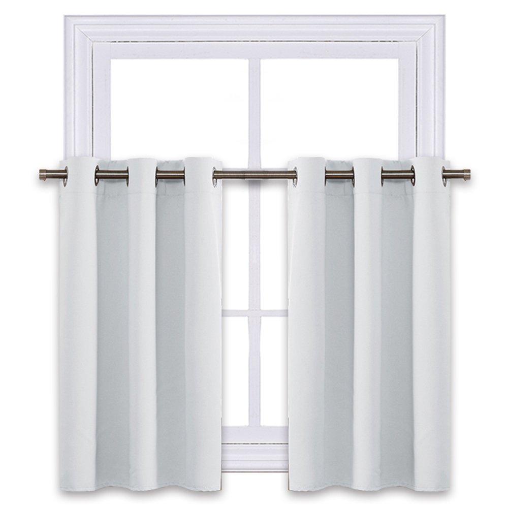 NICETOWN Greyish White Room Darkening Valances - Energy Efficient Kitchen Grommet Top Curtain Panels for Short Window (2-Pack, W42 x L36-Inch, Platinum-Greyish White)