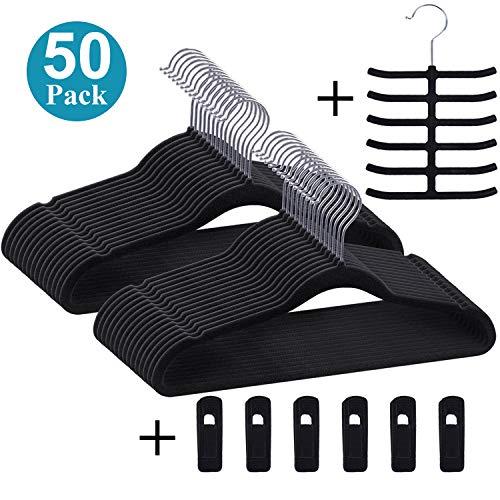 (VECELO Premium Velvet Suit Hangers Heavy Duty (50 Pack) - Non Slip & Space-Saving Clothes Hangers with 6 Finger Clips and Tie Rack Excellent for Men and Women (Black))