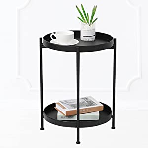 """INRLKIT Black Folding End Table 2-Tier Metal Round Side Table with Removable Tray for Living Room, Anti-Rust and Waterproof Snack Table, Modern Home Decor Coffee Tea(15.7""""Dx20.3""""H)"""