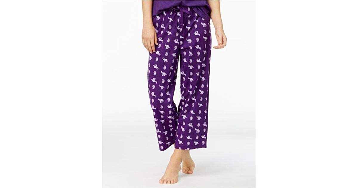 XXX-Large Elephant Paisly Charter Club Womens Printed Cotton Knit Cropped Pajama Pants