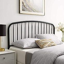 Bedroom Modway Nova Modern Farmhouse Metal Twin Headboard in Black farmhouse headboards