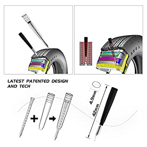 BIBENE Universal Tire Repair Kit New Technology Heavy Duty Flat Tire Puncture Repair Kit with Simple Operation, 12 Nails for Car, Motorcycle, ATV, SUV, Truck