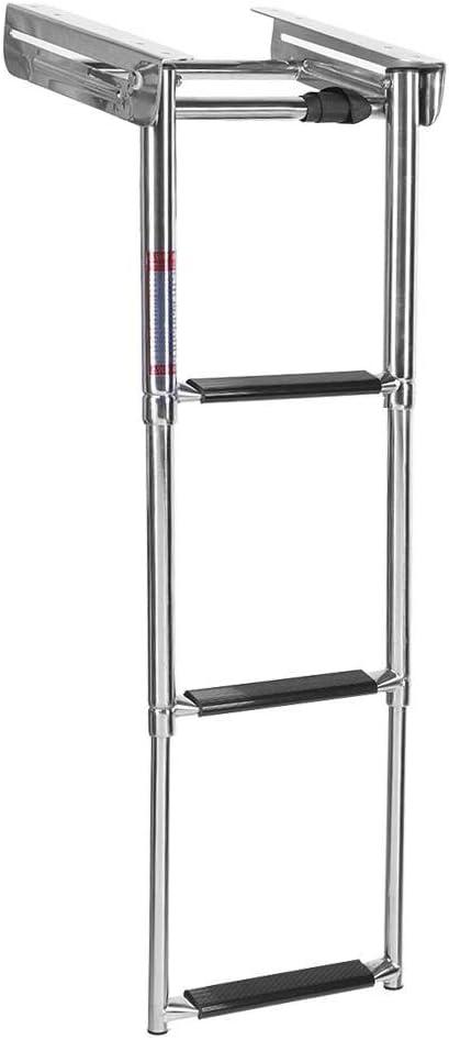 Longitud de Escalera de embarque universal de 3 escalones con plataforma deslizante para embarcaciones Escalera telesc/ópica de acero inoxidable para embarcaciones Capacidad m/áxima de carga 1190 lb