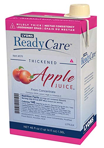 Lyons ReadyCare Thickened Apple Juice - Nectar Consistency, Level 2 Mildly Thick - 46 fl oz (6 Pack)