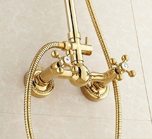 GOWE Luxury Gold Finish Bathroom Rainfall Shower set faucet Brass Round Shower Head 1