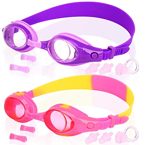 (COOLOO Kids Swim Goggles, Pack of 2, Swimming Glasses for Children and Early Teens from 3 to 15 Years Old, Anti-Fog, Waterproof, UV Protection,)