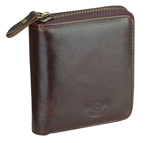 Short Genuine Leather (Admetus Men's Genuine Leather Short Zip-around Bifold Wallet Exquisite box Christmas Gift Brown10)
