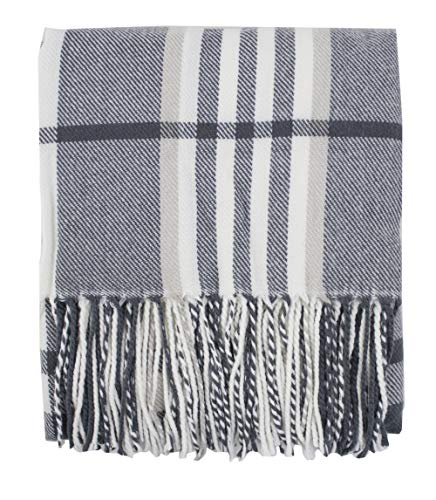(Fennco Styles Cozy Plaid Design Throw Blanket with Tassels - 50