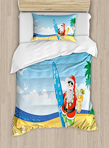 Ambesonne Christmas Duvet Cover Set, Santa Claus on The Beach with Surfboard Summer Party Celebration Tropical Art, Decorative 2 Piece Bedding Set with 1 Pillow Sham, Twin Size, Blue Yellow