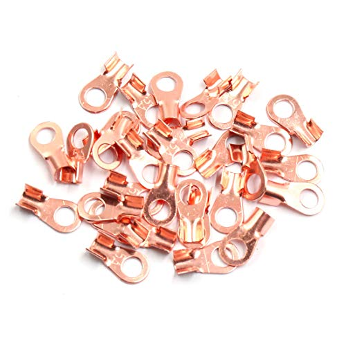 Sourcingmap 30pcs 5A Copper Ring Terminals Lug Battery Cable Connector:
