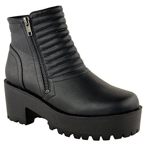 DE MUJER GRUESA CON TACOS SUELA PLATAFORMA TACÓN EN BLOQUE BOTINES: Amazon.es: Zapatos y complementos
