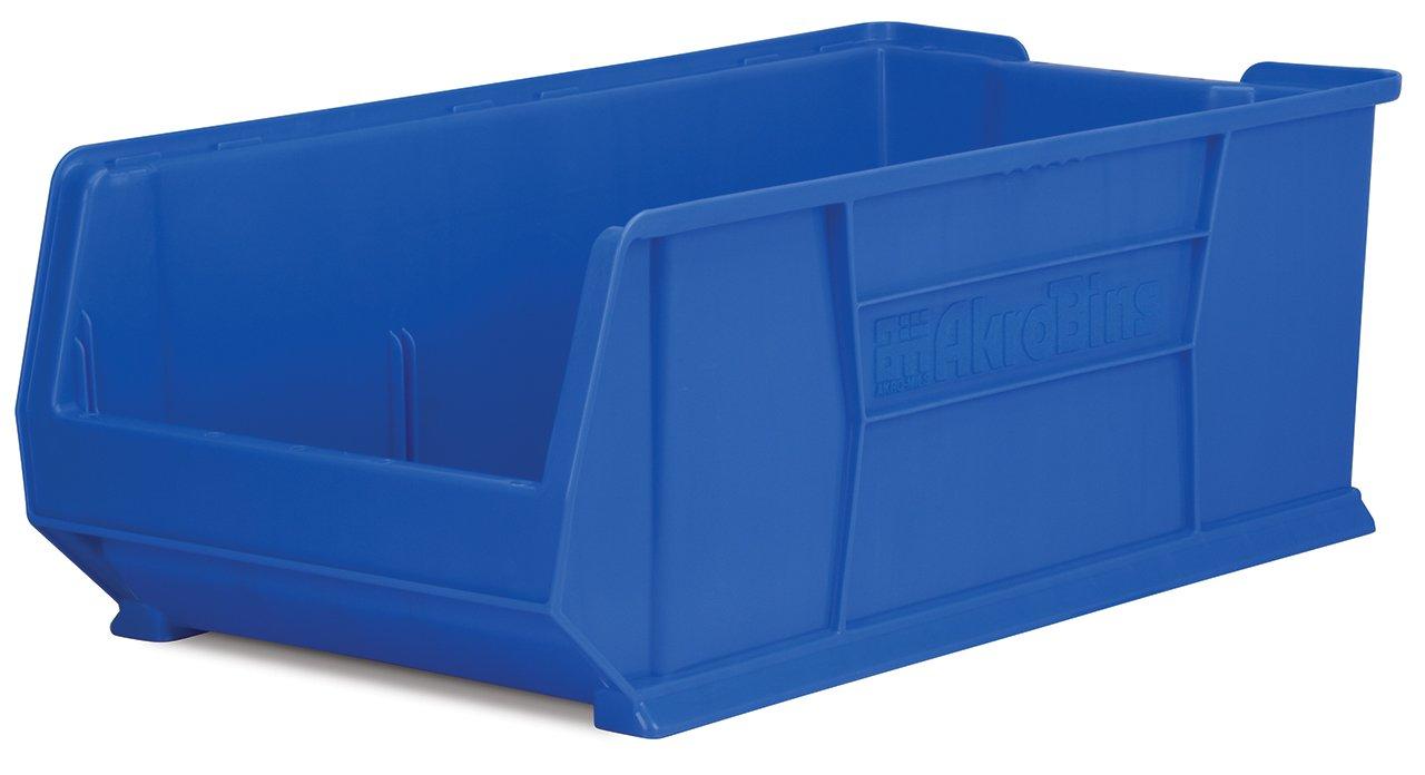 Akro-Mils 30293 Super Size Plastic Stacking Storage Akro Bin, 30-Inch D by 16-Inch W by 11-Inch H, Blue
