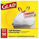 Grocery : Glad Tall Kitchen Drawstring Trash Bags, 13 Gallon, 90 Count, (Packaging May Vary)