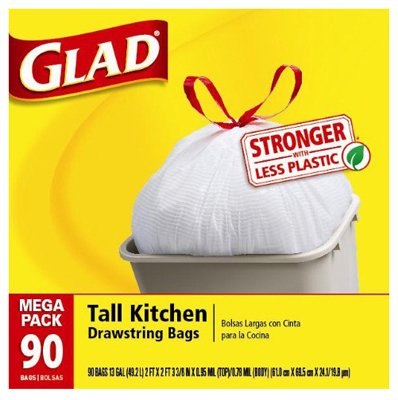 Clorox The 78536 Tall Kitchen Garbage Bag, Drawstring, 13-Gal., 90-Ct.