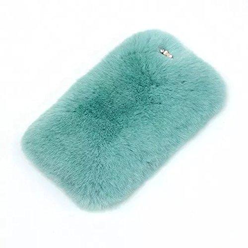 Galaxy J3 Case,Galaxy J3 Rabbit Fur Case,Luxury Upscale Warm Soft Rabbit  Fur Hair sluffy Back Cover Case For Samsung Galaxy J3,sky blue