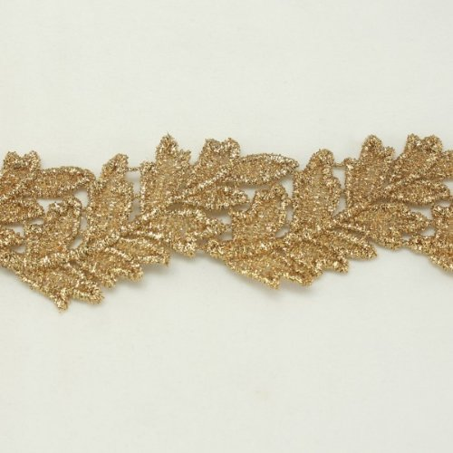 Gold metallic lace trim metallic ribbon trim by the yard for fabric Millinery accent motif scrapbooking card making lace decoration baby headband hair accessories dress accessories Bridal beaded trim by Annielov trim #294