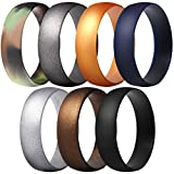 ThunderFit Silicone Rings, 7 Pack / 1 Ring Wedding Bands for Men & Women 6mm Wide (Black, Bronze-Men, Gold, Gun Metallic, Camo, Silver, Dark Blue, 15.5-16 (24.5mm))