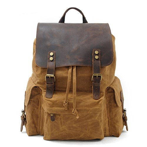 Authentic Leather Backpack - H-ANDYBAG 15.6 Inch Waxed Canvas Laptop Backpack Khaki for Men & Women
