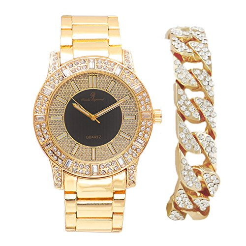 (Mens Elegant Bling Gift Set Unique Black Circle Center and Baguette Crystals and Rhinestone Trim with Matching Iced Cuban Bracelet - 8644B Cuban Gold)