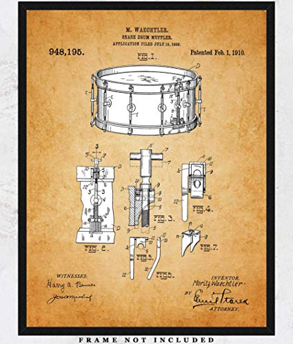 Vintage Snare Drum Patent Wall Art Print: Unique Room Decor for Boys, Men, Girls & Women - (11x14) Unframed Picture - Great Wall Decor Gift for All Drummers and Music Lovers!