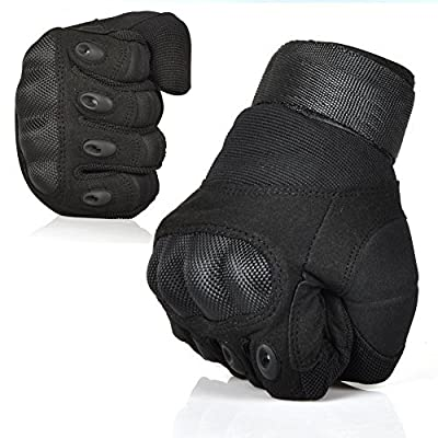 Fantastic Zone Ventilate Wear-resistant Tactical Gloves Hard Knuckle and Foam Protection for Shooting Airsoft Hunting Cycling Motorcycle Gloves Men's Outdoor Half finger Full finger Gloves Black M/L/XL