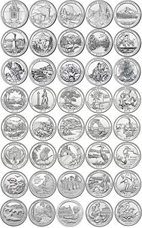(43 D National Park Quarters 2010-2018 with Folder D Mint Brilliant Uncirculated)