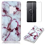 for Samsung Galaxy S9 Marble Case with Screen Protector,OYIME Creative Glossy Purple & White Marble Pattern Design Protective Bumper Soft Silicone Slim Thin Rubber Luxury Shockproof Cover