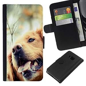 eJoy---La carpeta del tirón la caja de cuero de alta calidad de la PU Caso protector - HTC One M7 - --Golden Retriever Dog Canine Pet