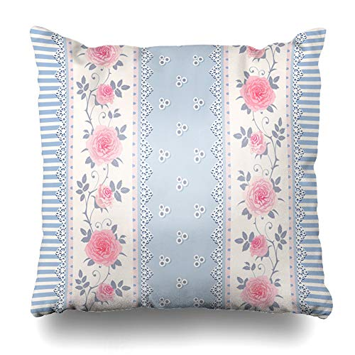 Ahawoso Throw Pillow Cover Roses Blue Shabby Striped Pattern Branches Laces Plant Vintage Pink Chic Border White Floral Provence Decorative Pillow Case 16x16 Inches Square Home Decor Pillowcase