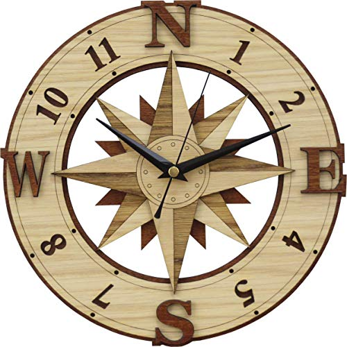 Compass Wooden Clock - Wind Rose - Windrose