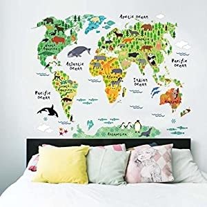 YJYDADA Wall Stickers,Animal World Map Wall Stickers Kids Rooms Bedroom Decor Home Living Colorful(73X95cm)