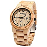 Bewell Men Luxury Natural Wood Watch Auto Date Maple Wooden Watches Bamboo Wristwatch