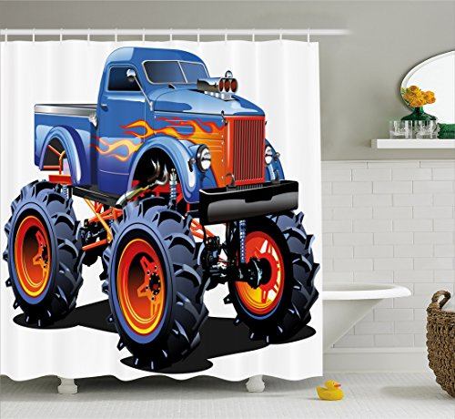 Man Cave Decor Shower Curtain by Ambesonne, Cartoon Monster Truck Huge Tyres Off-road Heavy Large Tractor Wheels Turbo, Fabric Bathroom Decor Set with Hooks, 70 Inches, - Tyre Dye