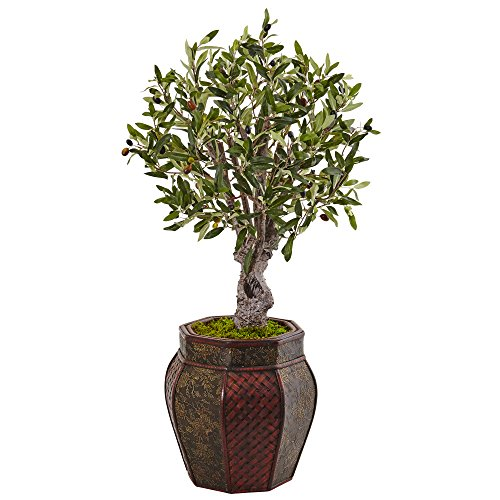 Italian Planter - Nearly Natural 3' Olive Artificial Tree in Weave Panel Planter, Green