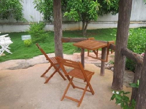Garten Balkon Hängetisch 2 Stühle Eukalyptus FSC-Holz, geölt