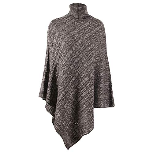 CNSTOCK Women's Cozy Knitted Pullover Sweater Wrap Shawl, Women's Elegant Knitted Shawl Poncho with Fringed Sides V-Neck Striped Sweater