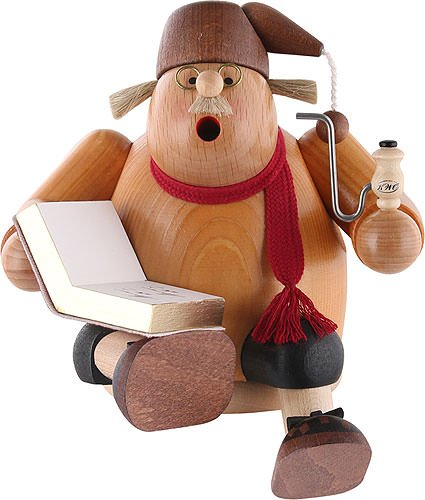 German Incense Smoker Edge stool - Story teller - 15 cm / 6 inch - KWO by Authentic German Erzgebirge Handcraft