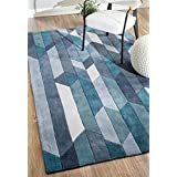 nuLOOM 200ACR234A-76096 Handmade Modern Geometric Blue Rug (7-Feet 6 X 9-Feet 6)