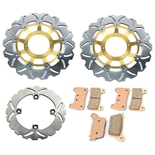 rake Discs Rotors and Pads for Honda CBR 600 RR CBR600RR 2007-2016 Gold Set ()