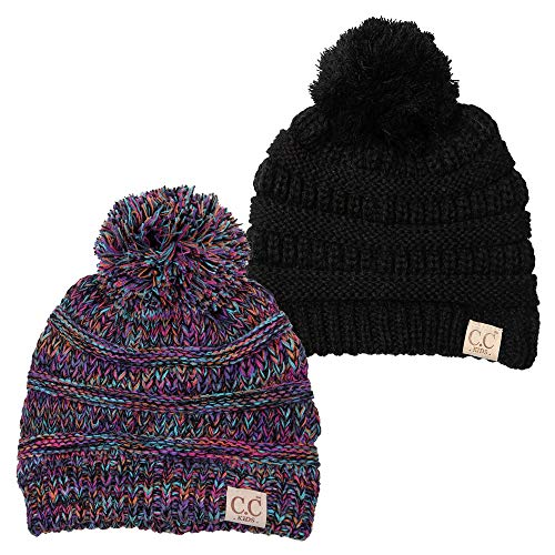 Funky Junque CC Kids Baby Toddler Cable Knit Children's Pom Winter Hat Beanie