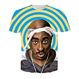 CHIC Unisex Hip Hop 3D Printed 2PAC TUPAC Casual Sport Swag T Shirt Top (XXL)