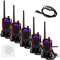 Retevis RT5 5W VHF/UHF 136-174/400-520 MHz 128CH DTMF/CTCSS VOX FM Ham 2 Way Radio with Original Earpiece(5 Pack) and Programming Cable