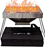 Portable Charcoal Grill for Camping Cooking with Carry Bag Small BBQ Pit Stainless Steel Mini...