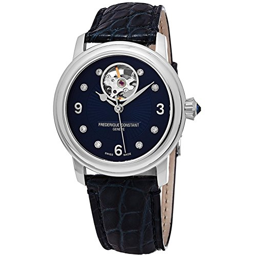 Frederique Constant Women's 'Heart Beat' Swiss Automatic Stainless Steel and Leather Dress Watch, Color:Blue (Model: FC-310HBAND2P6)