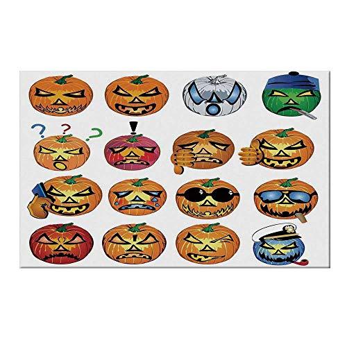 YOLIYANA Halloween Decorations Durable Door Mat,Carved Pumpkin with