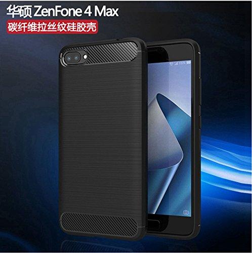 Funda ASUS ZenFone 4 MAX,Funda Fibra de carbono Alta Calidad Anti-Rasguño y Resistente Huellas Dactilares Totalmente Protectora Caso de Cuero Cover Case Adecuado para el ASUS ZenFone 4 MAX A