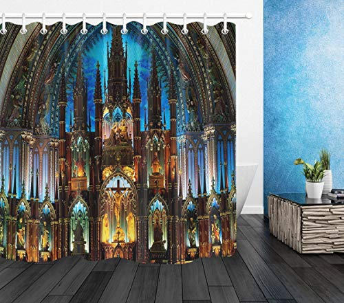 LB Notre Dame de Paris Shower Curtain Christian Church Cathedral Scenery French Architecture Bathroom Curtains with Hooks Shower Room Decor Waterproof Polyester Fabric 72x72 inch