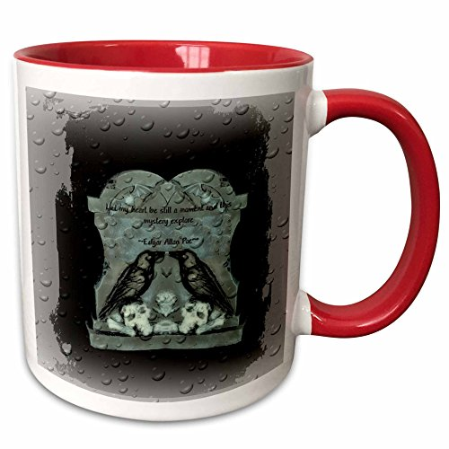 3dRose ET Photography - Halloween Designs - Two Ravens on tombstone with a quote from Poe - 15oz Two-Tone Red Mug (mug_162111_10) -