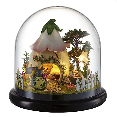 Rylai 3D Puzzles Wooden Handmade Miniature Dollhouse DIY Kit w/ Light-Green Garden Series Acrylic Dome Dollhouses Accessories Dolls Houses with Furniture & LED & Music Box Best Xmas Gift